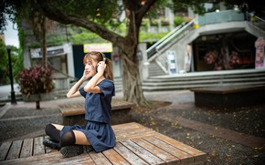 Picture girl, headphones, Asian