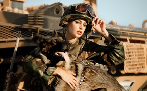 Picture girl, dog, army