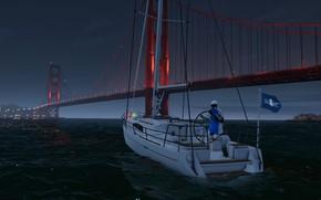 Picture night, bridge, yacht