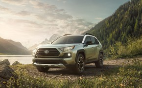 Picture the sky, mountains, nature, River, Forest, toyota, Toyota, Toyota rav4, SUV