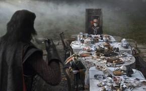 Picture Johnny Depp, rabbit, the tea party, Alice in Wonderland, Alice in Wonderland, Mad Hatter, black …