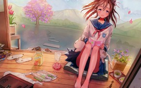 Picture lake, hills, books, Sakura, tulips, red, schoolgirl, portfolio, veranda, art, Slippers, barefoot, sailor, snacks, Neyagi
