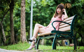 Picture look, girl, Park, hair, legs, Asian, cutie, bokeh