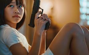 Picture gun, weapons, girl, Natsumi Hayashi