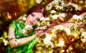 Picture look, brown hair, makeup, girl, Igor Petrovnin, flowering, branches, dress