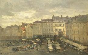 Picture oil, canvas, the urban landscape, 1875, Гильом Вогель, Guillaume Vogels, Песчаная Площадь в Брюсселе