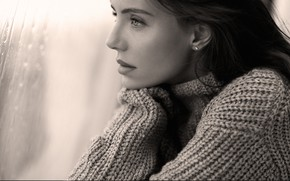 Picture look, girl, rain, window, black and white, sweater