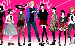 Picture style, girls, guys, characters, Durarara, Durarara