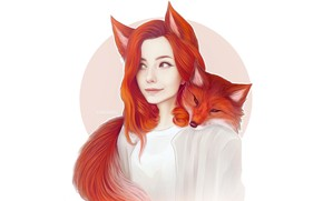 Picture Girl, Minimalism, Fox, Style, Face, Girl, Background, Fox, Ears, Art, Art, Red, Illustration, Animal, Tail, …