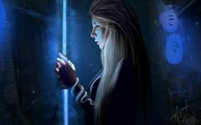 Picture Girl, Night, Neon, Lamp, Girl, Fantasy, Art, Art, Beauty, Sexy, Beautiful, Cyberpunk, Nastya Shkoda ArtShkoda, …