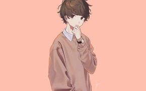 Picture guy, sweater, peach background