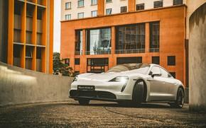 Picture White, Car, Parking, Porsche Taycan Turbo S