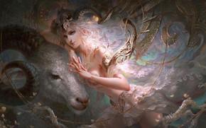 Picture girl, fantasy, spirituality, Capricorn, Capricorn, astrology, Zodiac sign