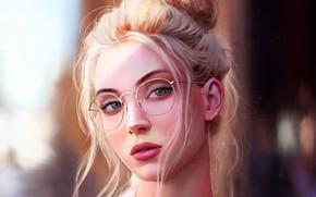 Picture Girl, art, blue eyes, bokeh, lips, face, blonde, digital art, glasses, artwork, mouth, close up, …