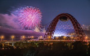 Picture bridge, the city, river, salute, the evening, Moscow, festival, Gleb Of Hlopun, Scenic