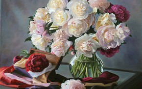 Picture flowers, bouquet, peonies, Zbigniew Kopania, naturmort