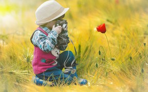 Picture Flower, Camera, Child, Photo Shooting