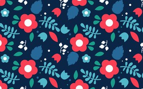 Picture flowers, blue, background, texture, red, with, pattern, roses