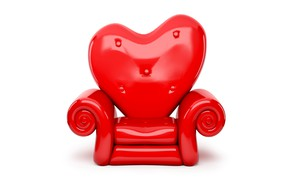 Picture heart, red, Valentine's day, white background, chair