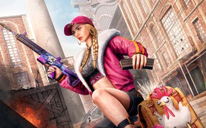 Picture girl, the city, weapons, the game, chicken, cap, bag, machine gun, cock, PlayerUnknown's Battlegrounds