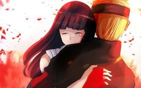 Picture romance, hugs, pair, Naruto, Naruto Uzumaki, Hinata Hyuga