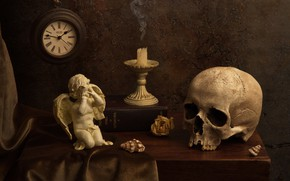 Picture style, the dark background, table, watch, skull, candle, fabric, book, shell, still life, items, composition, …
