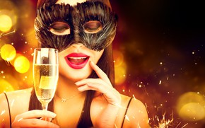 Picture girl, style, holiday, glass, new year, makeup, mask, model, Anna Subbotina, saranskoe, mikej