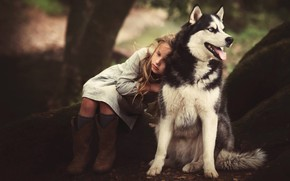 Picture dog, girl, friends, husky, Edie Layland
