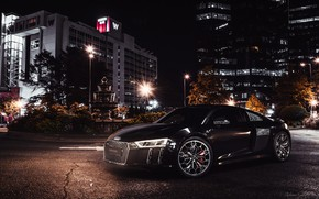 Picture Auto, Night, The city, Machine, Audi R8, Car, Black, Sports car, Transport & Vehicles, Final …
