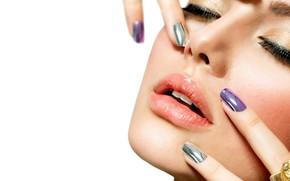 Picture girl, close-up, face, eyelashes, lipstick, lips, mascara, white background, fingers, beauty, bokeh, manicure, closed eyes