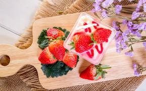 Picture berries, strawberry, red, fresh, dessert, wood, ripe, sweet, strawberry, berries