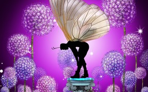 Picture butterfly, flowers, garden, Rendering, magical