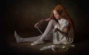 Picture tape, the dark background, shoes, dress, girl, red, ballerina, sitting, redhead, ballet, Pointe shoes, long-haired, …