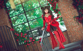 Picture greens, chest, look, girl, flowers, red, house, style, background, foliage, hair, stockings, hands, brunette, window, …