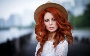 Picture background, model, portrait, hat, makeup, hairstyle, beauty, redhead, in white, bokeh, Maxim Romanov, Lesya