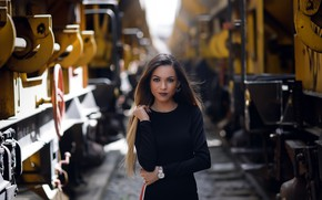 Picture look, pose, model, portrait, makeup, figure, dress, hairstyle, railroad, trains, brown hair, beauty, is, in …