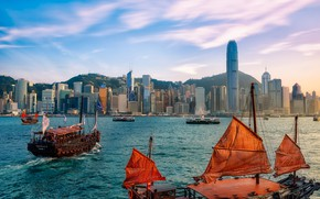 Picture mountains, the city, building, home, ships, Hong Kong, Hong Kong, Victoria Harbour, Victoria harbour