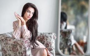 Picture girl, chair, mirror, brunette, Anastasia Barmina, Anastasia Barmina