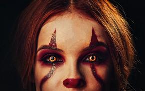 Picture dark, beautiful girl, creepy, Face, clown