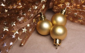 Picture winter, balls, holiday, balls, toys, Christmas, New year, gold plated, bow, stars, gold, Christmas decorations, …