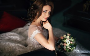 Picture look, girl, flowers, pose, portrait, bouquet, dress, hairstyle, beautiful, the bride, Sergey Vostrikov, Sergey Vostrikov
