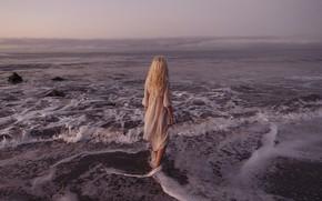 Picture sea, wave, girl, shore, back, Andrе Josselin