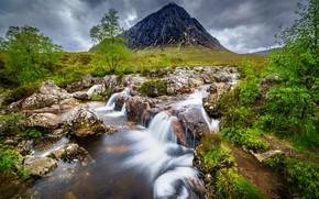 Picture stream, stones, mountain, Scotland, Glencoe, Badlands Etive Mòr