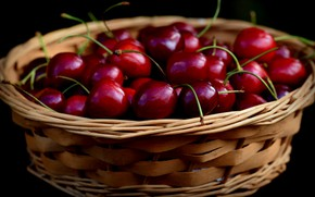 Picture close-up, cherry, berries, the dark background, black background, basket, cherry, juicy