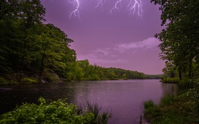 Picture the storm, forest, trees, lake, lightning, New Jersey, New Jersey, Johnson Lake, Lake Johnson