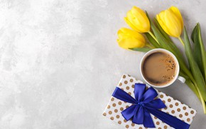Picture gift, coffee, bouquet, Cup