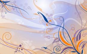 Wallpaper flowers, orange, blue, lilac, pattern, vector, art, Background, Texture