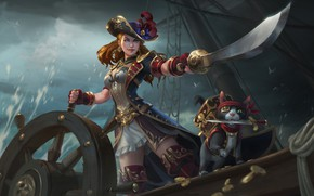 Picture Girl, Night, Cat, Ship, Girl, Pirate, Red, Art, Art, Red, Pirates, Cat, Illustration, Redhead, Saber, …