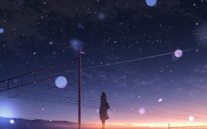 Picture the sky, girl, snow, sunset, Crescent