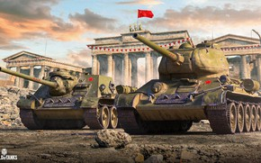 Picture Flag, USSR, Tank, SAU, Game, World of tanks, World of Tanks, Su-85, T-34-85